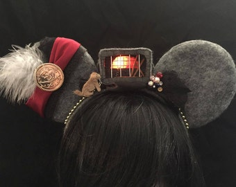 LIGHT UP 3D Pirates of the Caribbean Inspired Ears with light up jail/fire-Disneyland mouse ears/Mickey ears/Minnie mouse ears