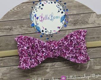 "Pink Tinsel Hair Bow-Alligator Clip-Baby Headband-Photo Prop-Chunky Glitter-Toddler Hair Bow-3"" Hair BowGlitter Hair Bow"
