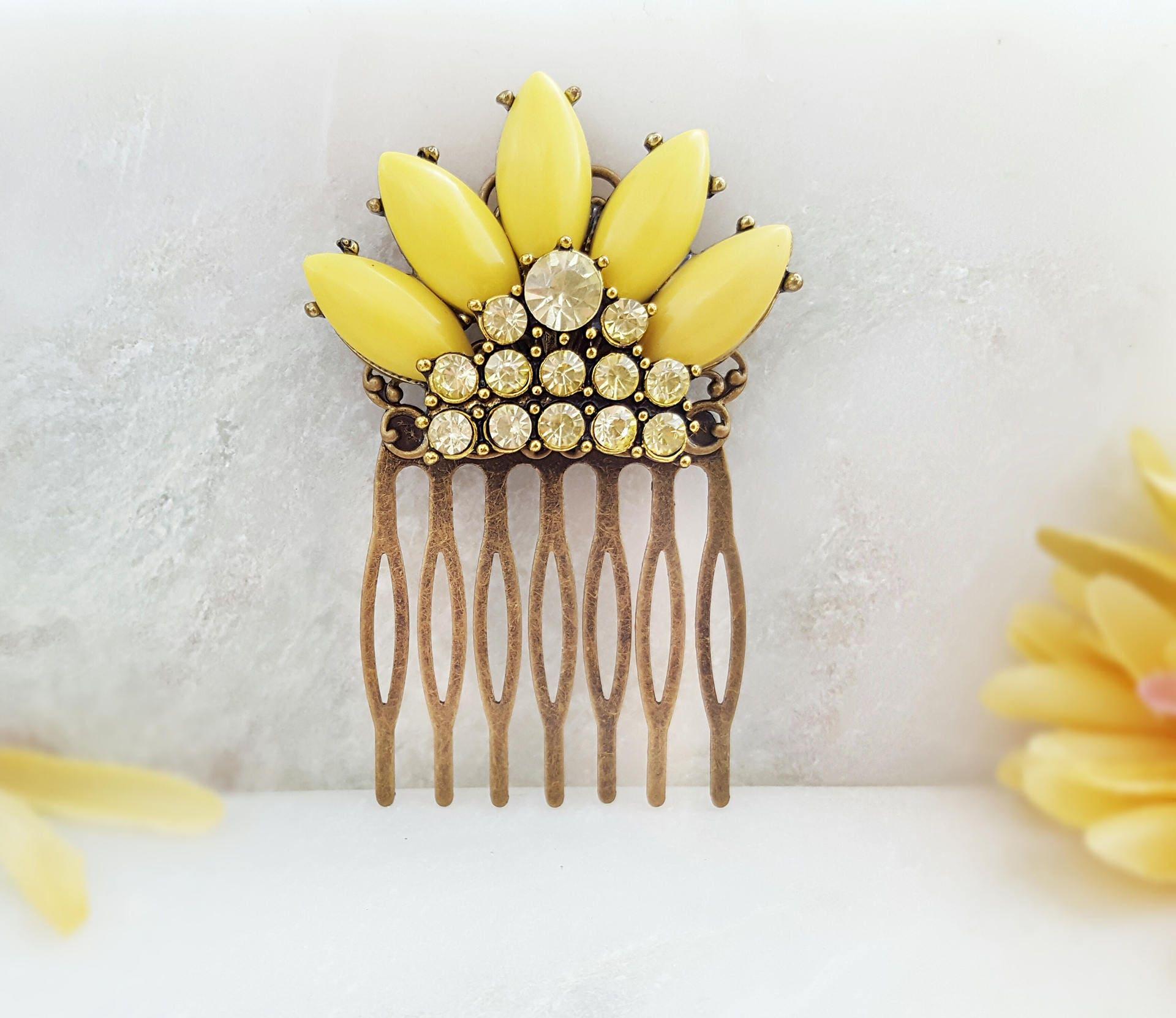 Yellow Flower Hair Comb Yellow Hair Flower Crystal Hair