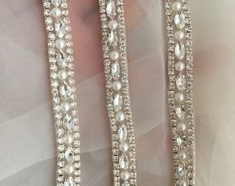 1 yard Thin rhinestone and crystal beaded lace trim for wedding belt, bridal sash, wedding gown straps ,bridesmaids belt,rhinestone hairband