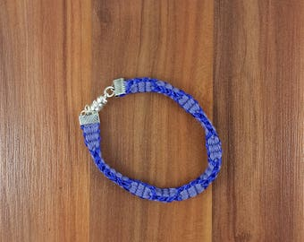 Bracelet: purple braided bracelet with magnetic clasp; handmade, gift for her, gift for him