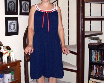 Vintage navy dress with red and white eyelet straps - medium/large