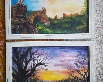 Original framed  Watercolor Paintings (DIN A4)