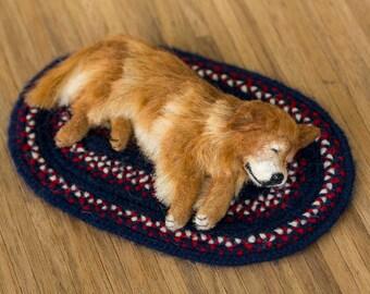 Dollhouse Miniature Sleeping Golden Retriever Old Fellow Dog Artist Sculpted Furred OOAK Dog 1:12 Scale
