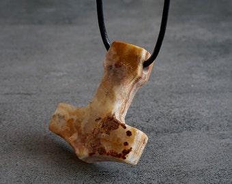 Onyx Thor Hammer Protection Amulet Viking Jewelry Large Mjolnir Pendant