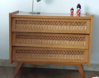 Vintage dresser with rattan