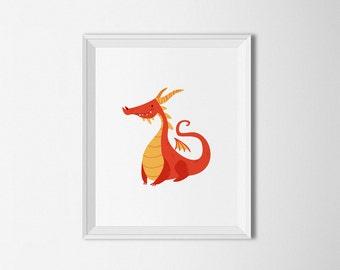 Red Dragon printable, dragon Wall art, dragon Nursery, Kids Room decor, nursery printable, Fantasy art, nursery decor, nursery art