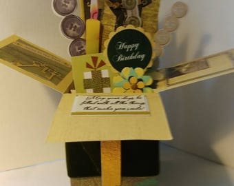 Handmade Birthday Pop up Exploding Box Card- just 1 Variation left-- Free ship USA
