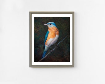 Eastern Bluebird Fine Art Print. Bird Art. Bluebird Painting. Oil Painting. 8x10 Wildlife Art. Bluebird Art. Bluebird Print. Bird Wall Decor
