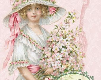 My Pink Girl vintage Large digital download ECS buy 3 get one free Pink ROSES romantic single image