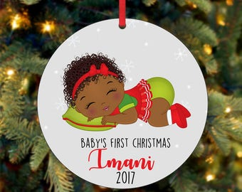 Baby's Girl First Christmas Ornament, Personalized Christmas Ornament, Custom Ornament, African American Christmas Ornament (0046)