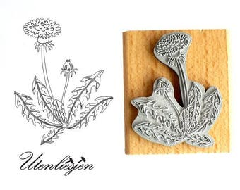 Stamp dandelion, rubber stamp 4 x 5 cm