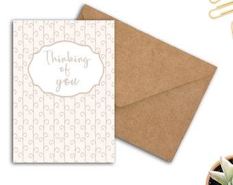 Printable Thinking Of You Card - Sympathy Card - Card For Her / Female / Friend - 5 x 7 PDF Card - DIY Friendship Card- Printable Stationery