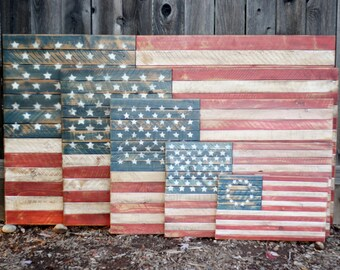 Wooden American Flag, Rustic, Distressed, Wall Art, Americana, Betsy Ross  Flag