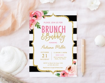 Kate Brunch and Bubbly Bridal Shower Invitation Template, Spade Shower, Bridal Brunch Invitations, Black and White Striped Invitation Floral