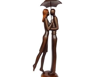 "Wood sculpture ""Kiss under the rain"" couple gift idea - boho art - wedding gift"