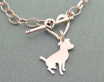 Sitting Pitbull Dog Chain Bracelet, Sterling Silver Personalize Terrier Pendant, Breed Silhouette Charm, Rescue Shelter, Pet Lover Gift