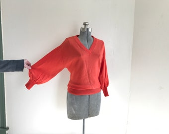 Vintage 1960s - 70s Marbella Orange V Neck Pullover Sweater Jumper with Puffy Bishop Sleeve