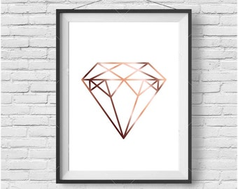 Faux Rose Gold Print Faux Copper Wall Art Geometric Diamond Poster Rose Gold Decor Copper Home Decor Minimalist Print Diamond Printable Art
