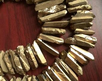 Rough Titanium Crystal Points, Quartz Sticks, Spikes, Golden Rainbow Metalic Quartz Beads, Gold Crystal Daggers, Quartz Spike Beads 1A7B8