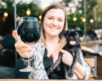 Custom Pet Wine Glass or Pilsner Glass - Hand Painted Dog or Cat - Personalized - Unique Housewarming and Host Gift