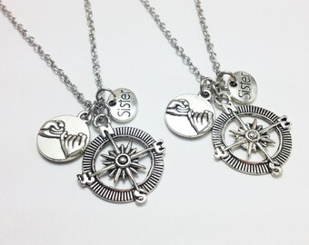 set of 2 compass necklace - sister necklace - pinky promise - friendship necklace - girlfriend gift