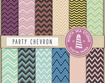 PARTY CHEVRON Digital Paper Chevron Zigzag Background Digital Scrapbooking 12 JPG 300dpi Files Download BUY5FOR8