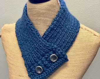 Hand Knitted Buttoned Neck Warmer in Wool-Ease Thick & Quick Denim Item# KNW71701 ***FREE SHIPPING***