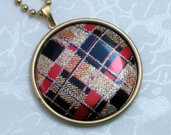 SALE Glitter Red and Black Plaid Pendant Necklace