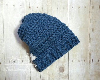 Slouchy hat, crochet, chunky, denim, blue