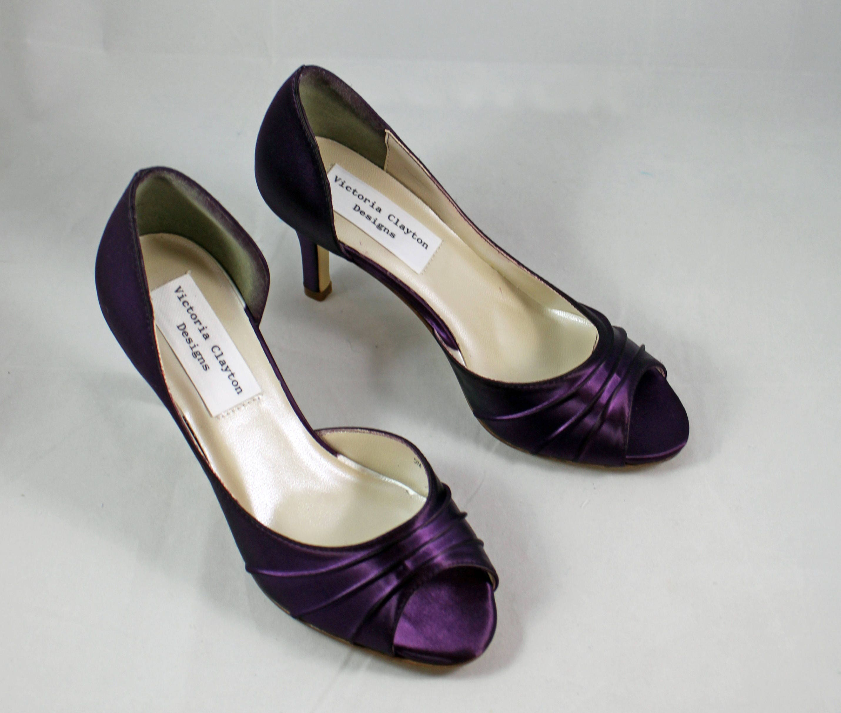 MOB Purple Wedding Shoes Low Heel SALE    2.5 Inch Heel   Aubergine Colored  Shoes Ready To Ship   Eggplant Shoe