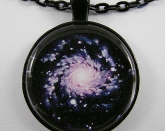 PINWHEEL GALAXY Necklace -- A Spiral Galaxy necklace, Astronomy and Physics art, Stellar necklace for him and her