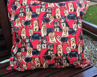 Handmade Yorkshire Terrier Patterned Cushion Cover