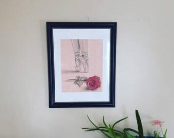 Ballet shoes drawing, dancer wall art, dancer wall decor, dancer picture, dance gifts, ballet, ballet print, ballet wall art, ballerina