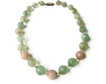 Chinese Jade  Shou Symbol Bead Necklace - Chinese Export, Green Jade, Pink Jade, Sterling Silver, Vauxhall Glass, Art Deco Necklace