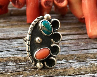 Vintage Sterling Silver Turquoise And Coral Ring | Boho Rings | Bohemian Rings | Silver Rings | Festival Fashion | Navajo | Green Turquoise