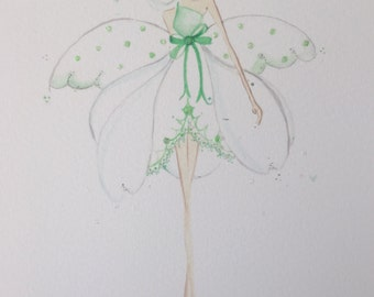 Lolli and Shell Snowdrop Flower fairy giclee print 5x7