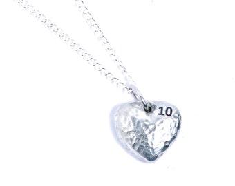 10th Anniversary Tin Heart Pendant