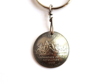 New Jersey Quarter Keychain, George Washington, Delaware River U.S. State Quarter Dollar Coin, Key Ring, 1999, Key Fob by Hendywood KCE18