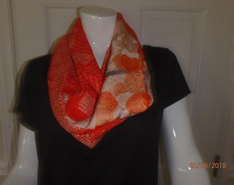 Orange and White SIlk Infinity Scarf