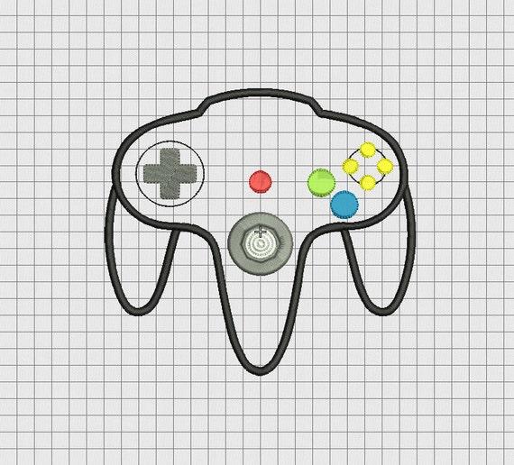 video game controller nintendo 64 n64 style applique