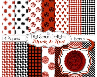 Digital Papers in Red, Black & White Houndstooth, Chevron,  for Digital Scrapbooking, Card Making, Backgrounds Bonus Red Rose