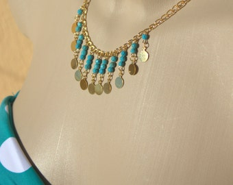 Turquoise Beaded  Necklace- Gypsy Bohemian Hippie Hipster Turquoise Bead Gold coin  Necklace