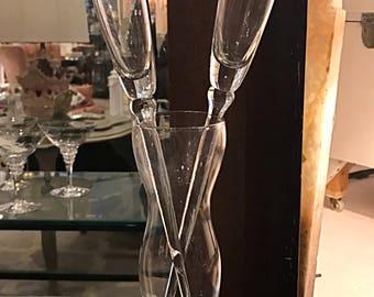 Baseless Champagne Toasting Flutes with Vase Holder