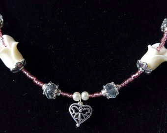Pink Seed Bead and White Flower Jewelry Set