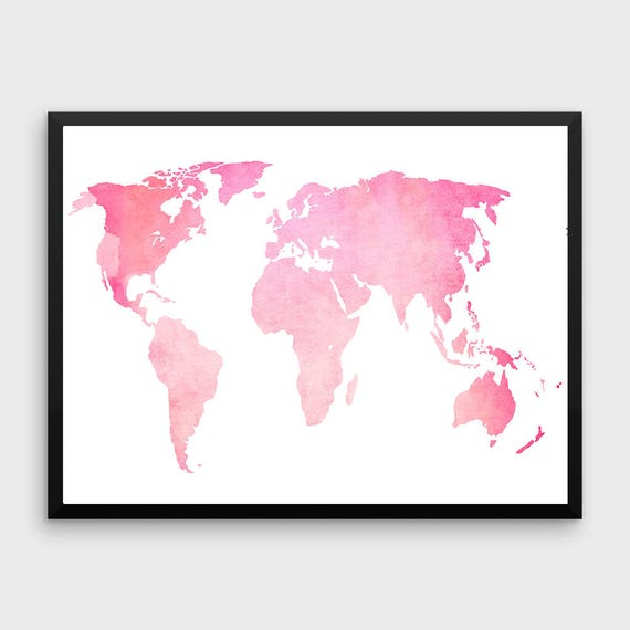 Pink world map poster large world map print pink map gumiabroncs Gallery