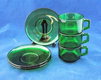 Vereco Emerald Green Glass Cup and Saucer set of 3