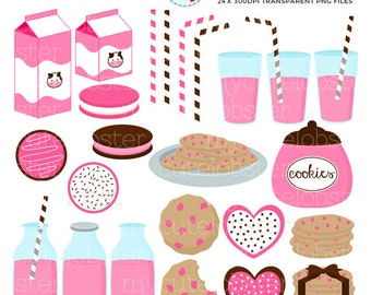Strawberry Milk & Cookies Clipart Set - clip art set of cookies, milk bottles, straws - personal use, small commercial use, instant download