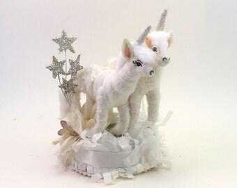 READY TO SHIP Vintage Style Spun Cotton Unicorn Wedding Cake Topper Ooak