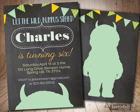 Where the wild things are Invitation Boy Birthday Invitation